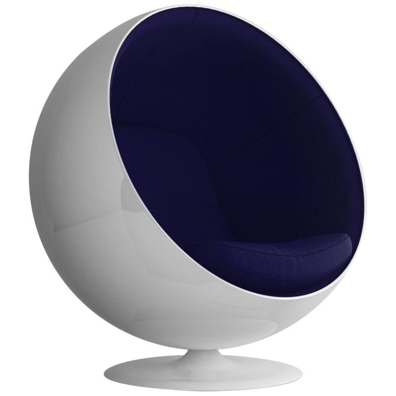 Iconic Eero Aarnio Blue Swivel Ball Lounge Chair