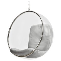 Iconic Eero Aarnio White Leather Bubble Chair