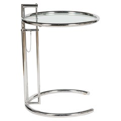 Iconic Eileen Gray E1027 Adjustable Round Chrome and Glass Side Table
