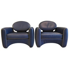 Iconic Emiel Veranneman Mid-Century Modern Pair of Osaka Leather Club Chairs