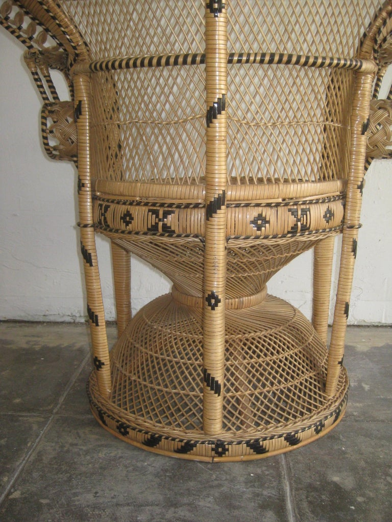Iconic Emmanuelle Wicker Rattan Midcentury Peacock Chair Statement Piece Mint For Sale 7