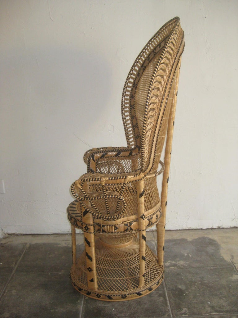 Iconic Emmanuelle Wicker Rattan Midcentury Peacock Chair Statement Piece Mint For Sale 8