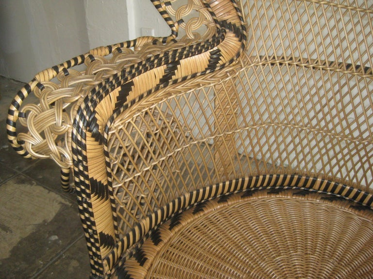 Iconic Emmanuelle Wicker Rattan Midcentury Peacock Chair Statement Piece Mint For Sale 9