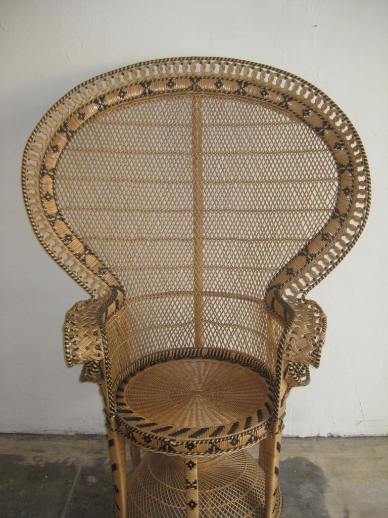 Iconic Emmanuelle Wicker Rattan Midcentury Peacock Chair Statement Piece Mint In Excellent Condition For Sale In San Diego, CA