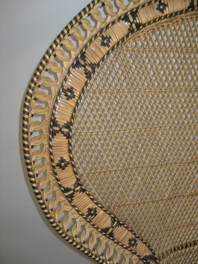 20th Century Iconic Emmanuelle Wicker Rattan Midcentury Peacock Chair Statement Piece Mint For Sale