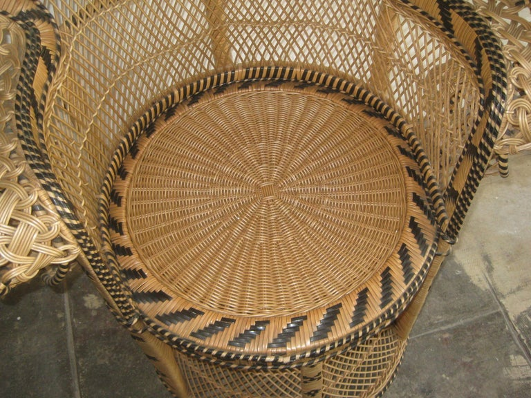 Iconic Emmanuelle Wicker Rattan Midcentury Peacock Chair Statement Piece Mint For Sale 1