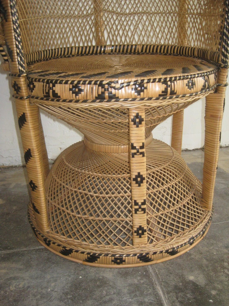 Iconic Emmanuelle Wicker Rattan Midcentury Peacock Chair Statement Piece Mint For Sale 3