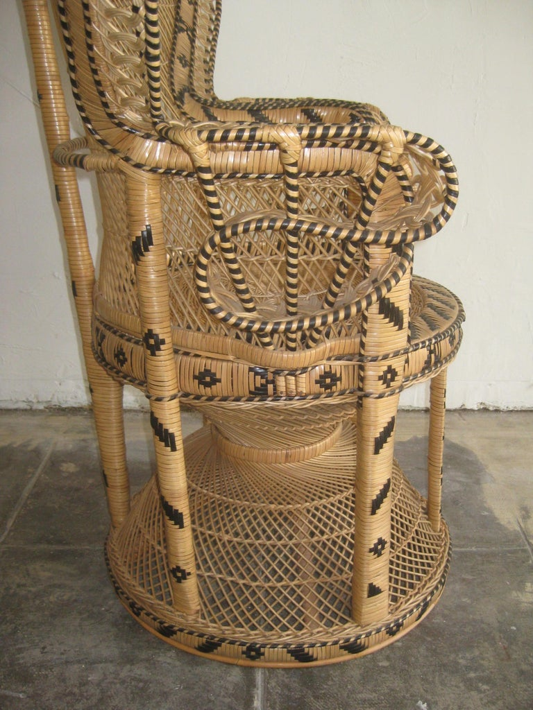 Iconic Emmanuelle Wicker Rattan Midcentury Peacock Chair Statement Piece Mint For Sale 5
