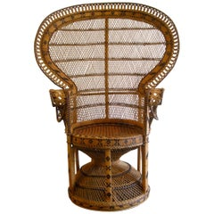 Iconic Emmanuelle Wicker Rattan Midcentury Peacock Chair Statement Piece