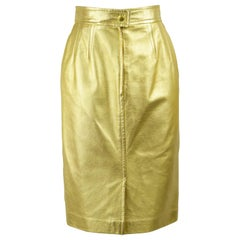 Iconic Escada Gold Leather Metallic Vintage Party Skirt, 1991