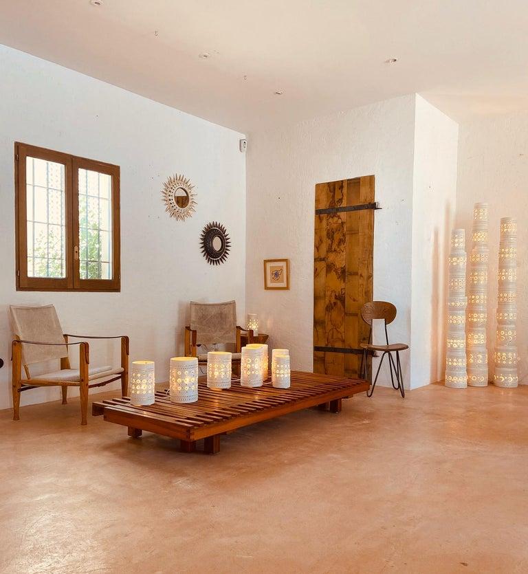 Iconic Georges Pelletier TOTEM Floor Lamp in White Enameled Ceramic For Sale 4