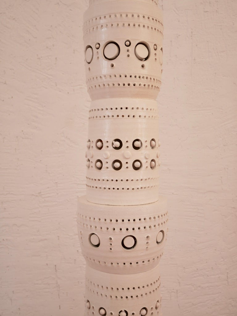 Other Iconic Georges Pelletier TOTEM Floor Lamp in White Enameled Ceramic For Sale