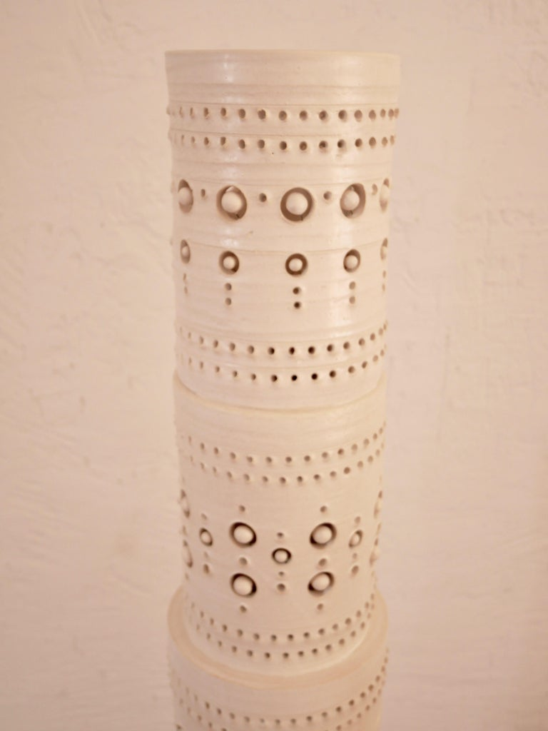 Iconic Georges Pelletier TOTEM Floor Lamp in White Enameled Ceramic In New Condition For Sale In Santa Gertrudis, Baleares