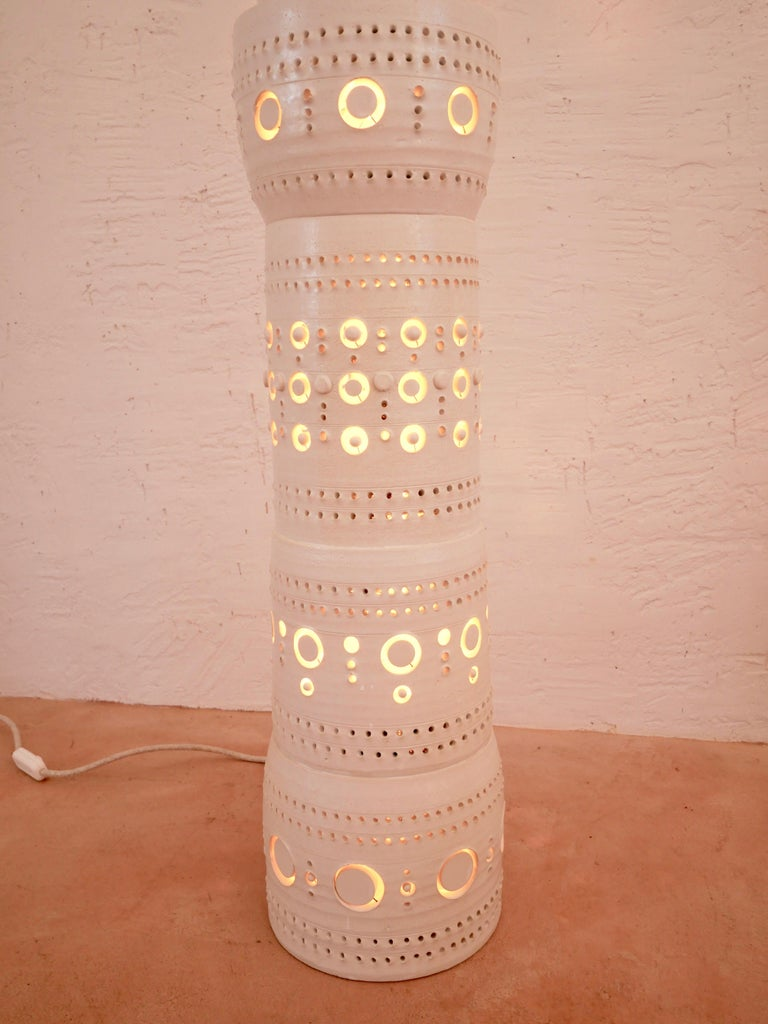 Contemporary Iconic Georges Pelletier TOTEM Floor Lamp in White Enameled Ceramic For Sale