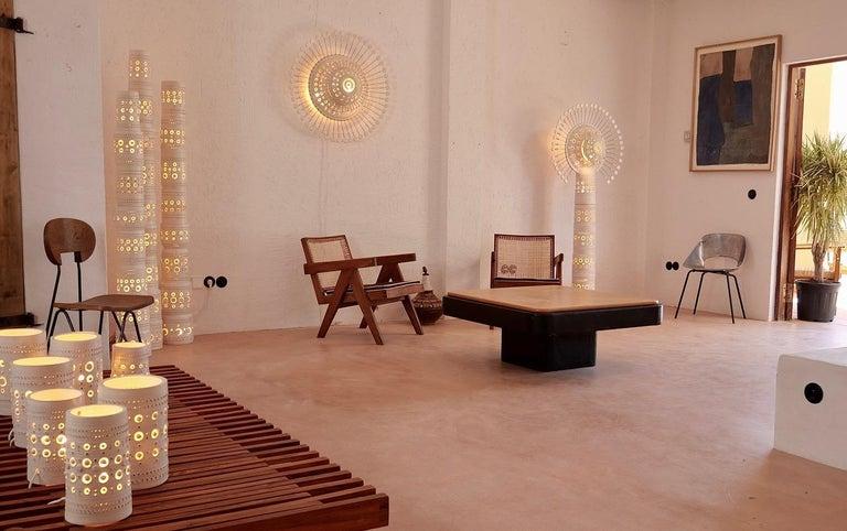 Iconic Georges Pelletier TOTEM Floor Lamp in White Enameled Ceramic For Sale 3