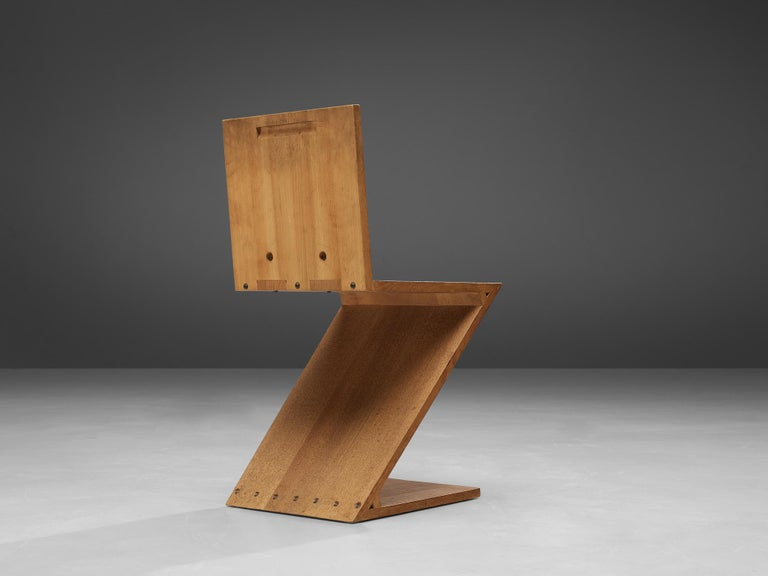 Gerrit Rietveld for Groenekan, 'Zig Zag' chair, elm, The Netherlands, design 1932/1933, manufactured between 1935-1973  Not a lot of chairs reach such fame like the 'Zig Zag' which is most likely one of the greatest icons ever designed by Gerrit