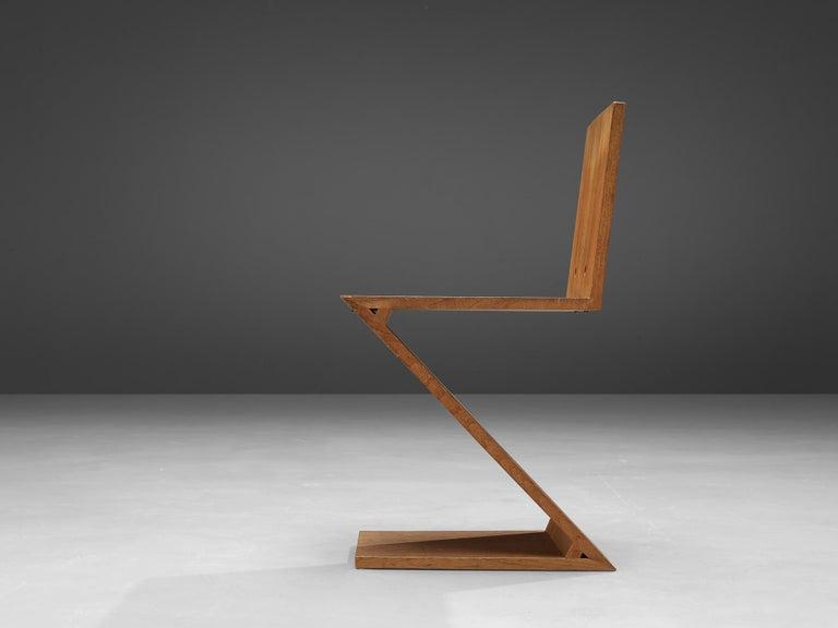 European Iconic Gerrit Rietveld for Groenekan 'Zig Zag' Chair in Elm For Sale