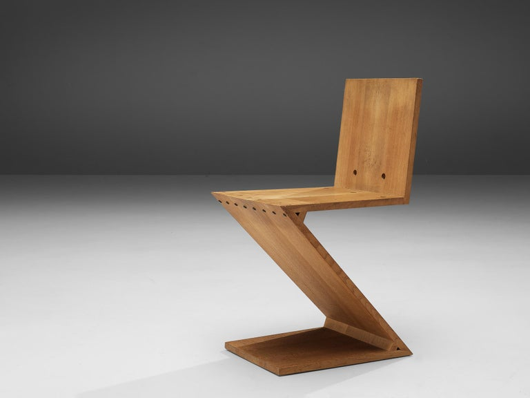 Mid-20th Century Iconic Gerrit Rietveld for Groenekan 'Zig Zag' Chair in Elm For Sale