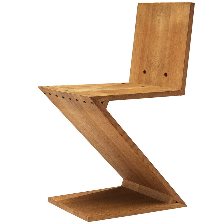 Iconic Gerrit Rietveld for Groenekan 'Zig Zag' Chair in Elm For Sale