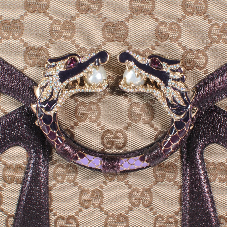 Iconic Gucci GG Monogram Canvas Jeweled Dragon Bag with Bamboo Chains For Sale 1