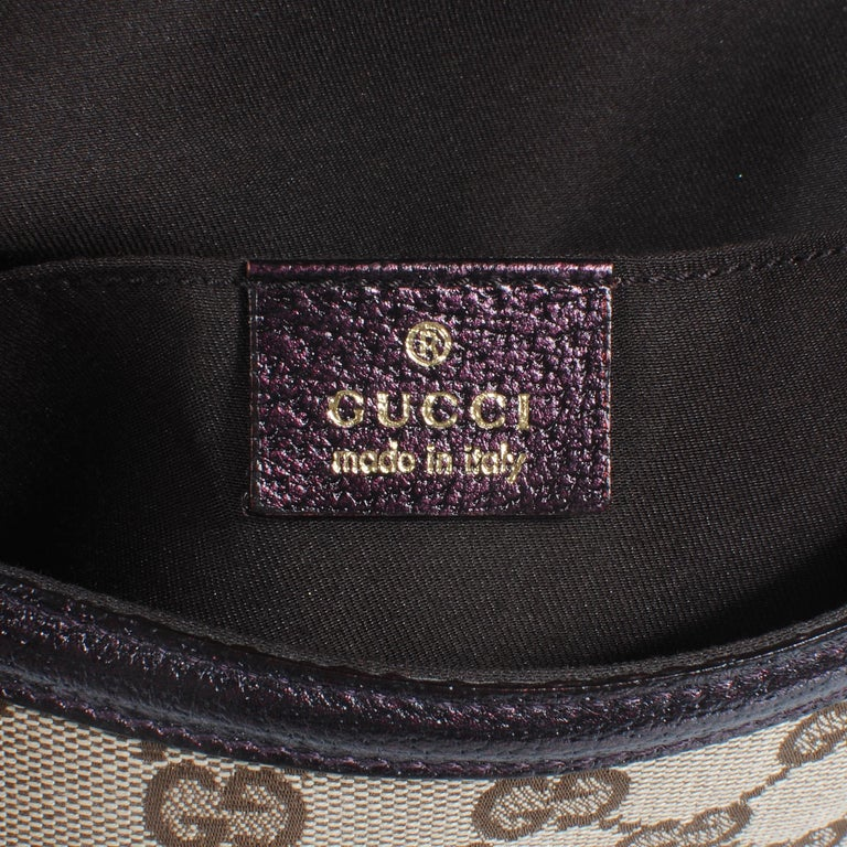 Iconic Gucci GG Monogram Canvas Jeweled Dragon Bag with Bamboo Chains For Sale 4