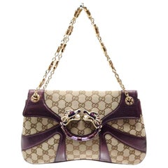 Iconic Gucci GG Monogram Canvas Jeweled Dragon Bag with Bamboo Chains
