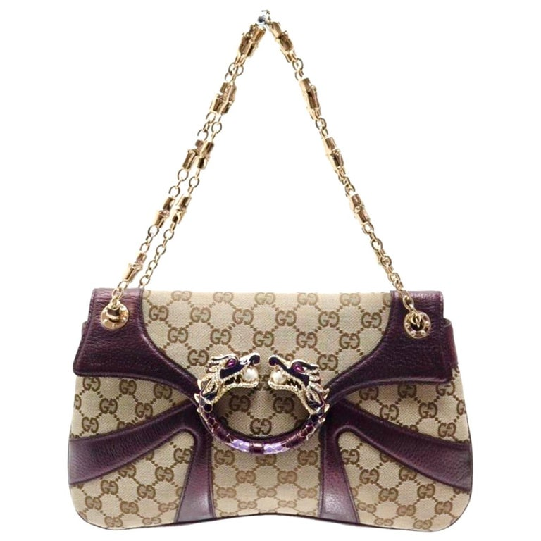 Iconic Gucci GG Monogram Canvas Jeweled Dragon Bag with Bamboo Chains For Sale