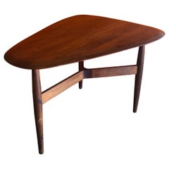 Iconic Guitar Pick Walnut Side Table by John Keal for Brown Saltman