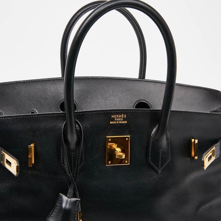 Iconic HERMES Birkin 35 in Black Box Leather For Sale 7