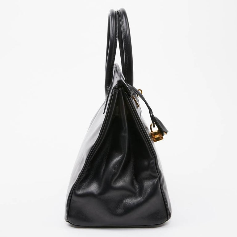 Iconic HERMES Birkin 35 in Black Box Leather In Good Condition For Sale In Paris, FR