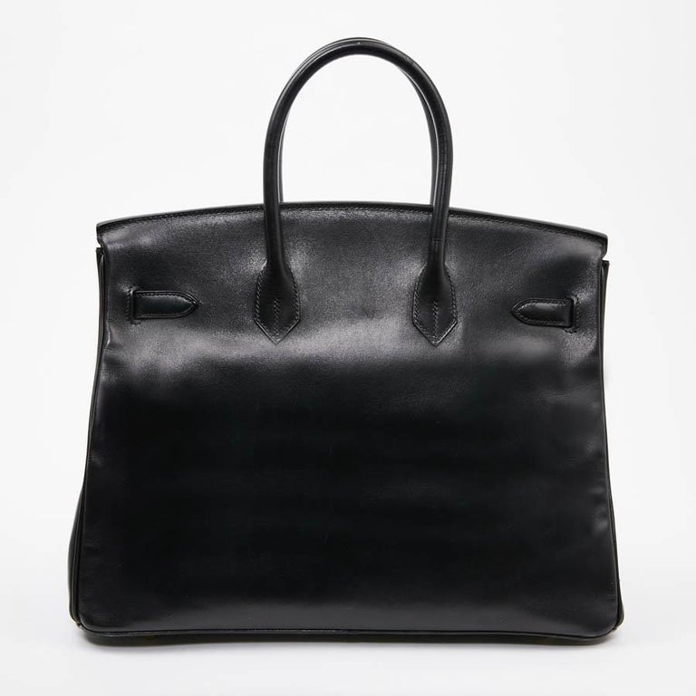 Women's or Men's Iconic HERMES Birkin 35 in Black Box Leather For Sale
