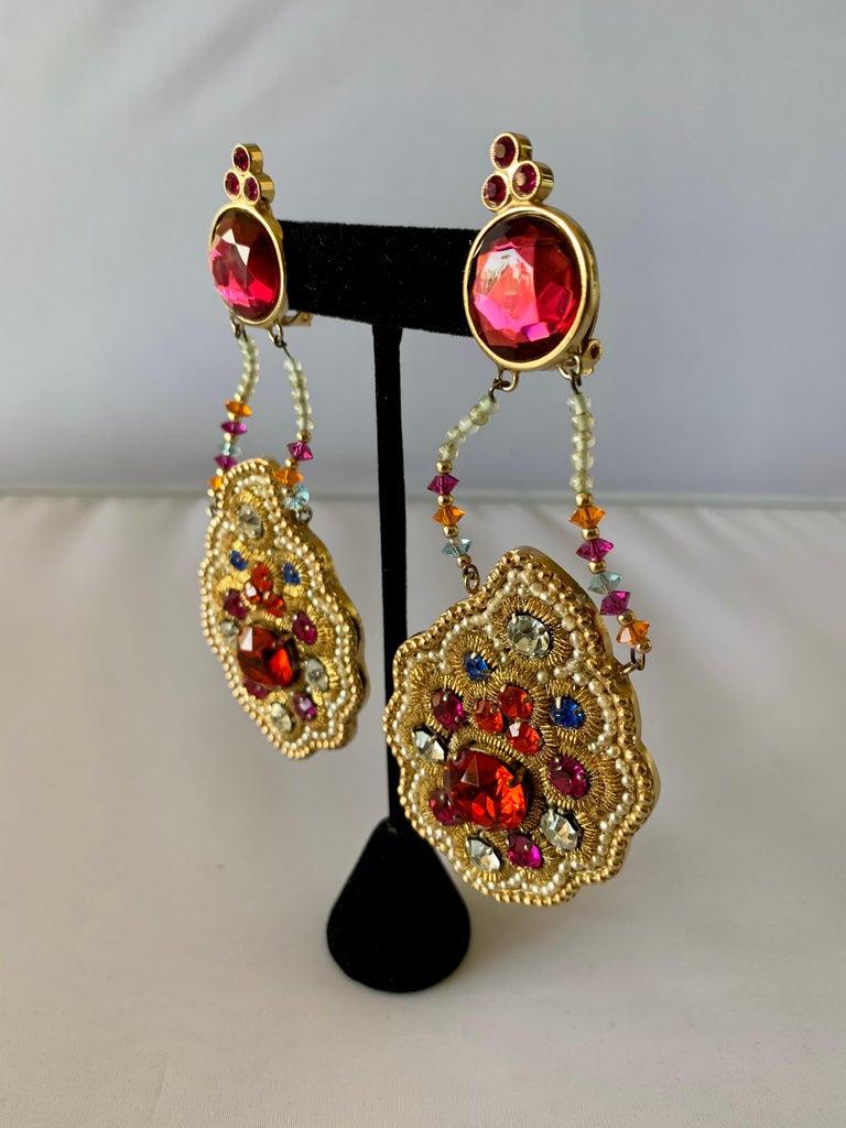 Byzantine Iconic Lesage Paris Oversized Jeweled Earrings  For Sale
