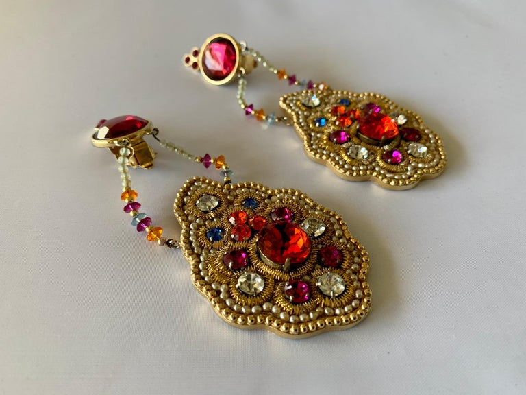 Iconic Lesage Paris Oversized Jeweled Earrings  In Good Condition For Sale In Palm Springs, CA