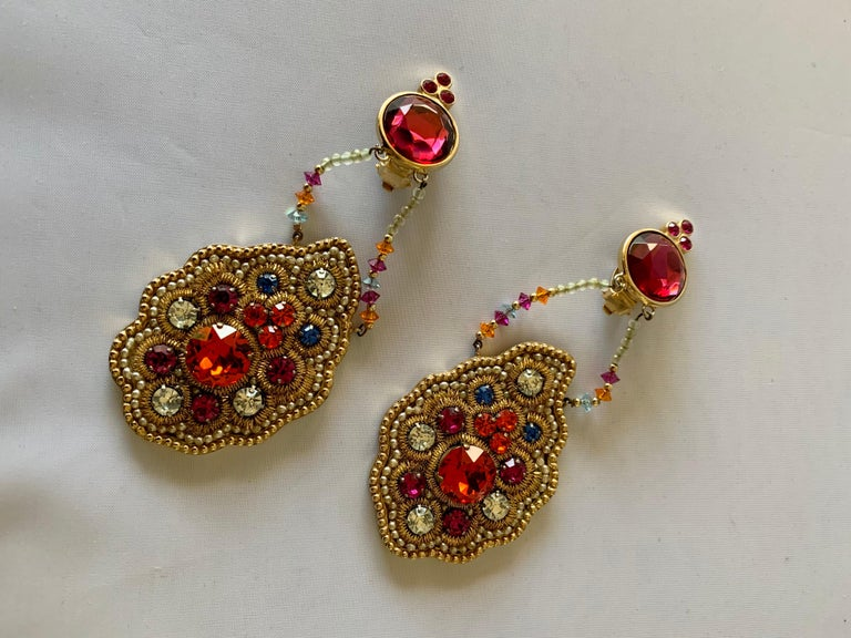 Iconic Lesage Paris Oversized Jeweled Earrings  For Sale 2