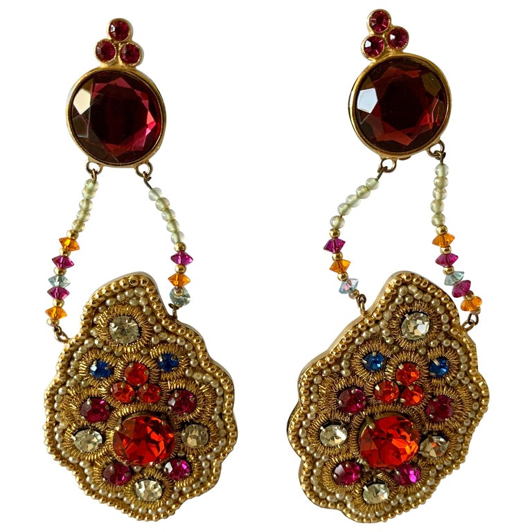 Iconic Lesage Paris Oversized Jeweled Earrings  For Sale