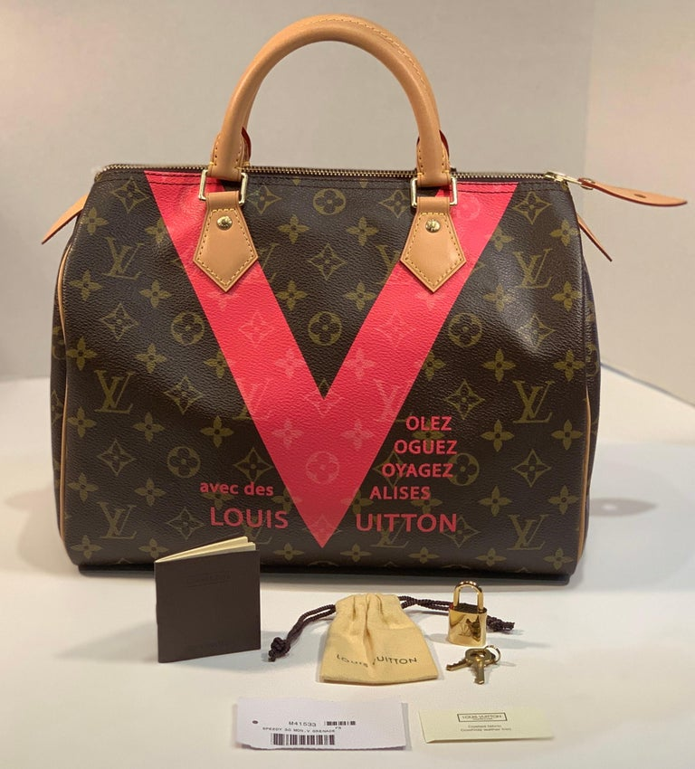 """Stylish Louis Vuitton Speedy 30 limited edition purse with grenade pink """"V"""" on iconic brown Monogram canvas from the 2015 Spring/Summer collection was inspired by the famous Louis Vuitton"""