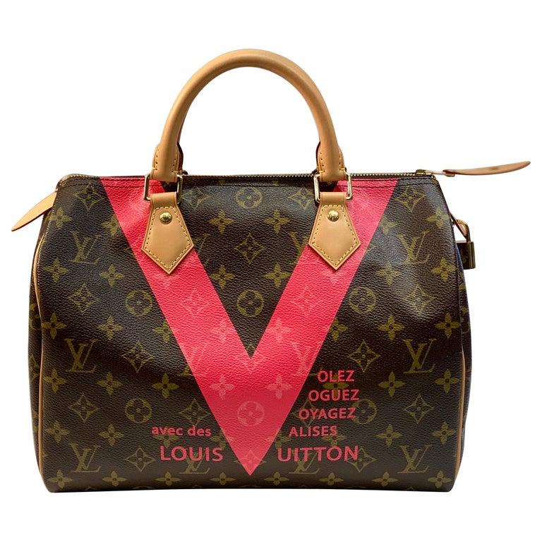 Iconic Louis Vuitton Speedy 30 Handbag Limited Edition Grenade V Monogram Canvas For Sale