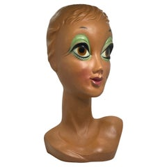 Iconic Mannequin Twiggy Model Head Vintage German, Space Age Design