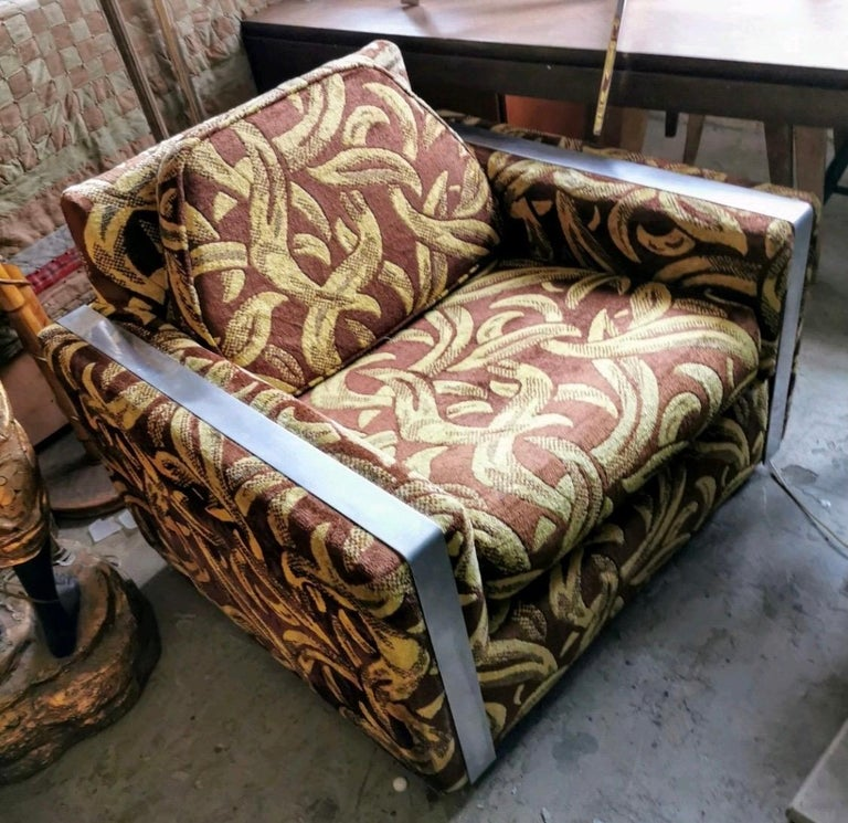 Iconic Mid-Century Modern Cubist Lounge Chair In Good Condition For Sale In West Hartford, CT