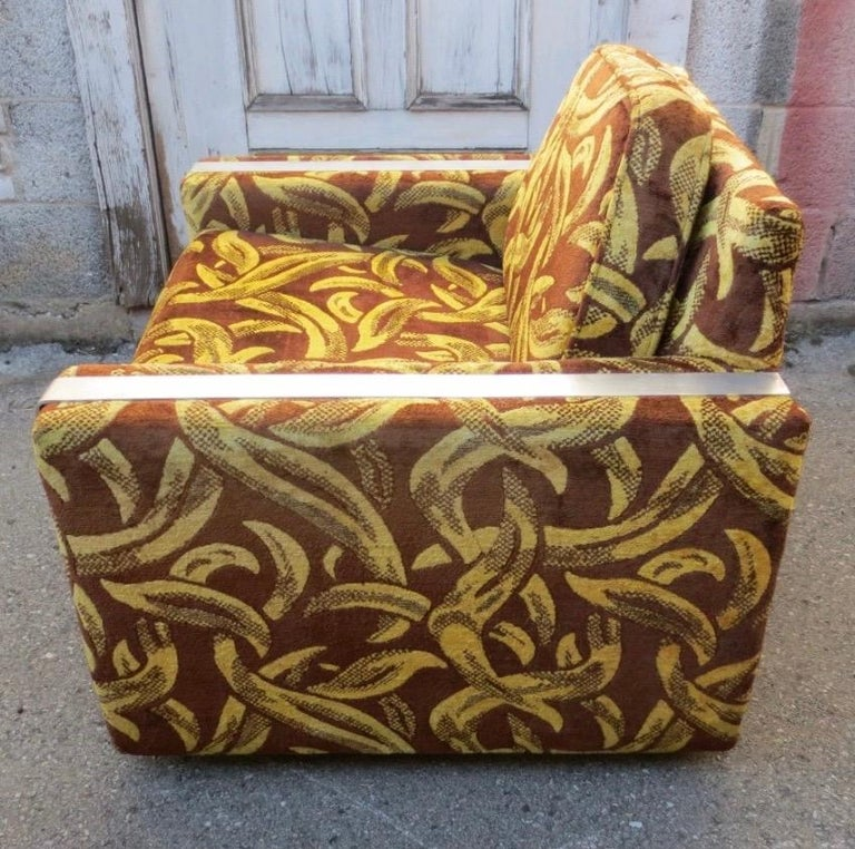 Fabric Iconic Mid-Century Modern Cubist Lounge Chair For Sale