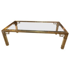 Iconic Mid-Century Modern Mastercraft Brass Greek Key Coffee Table