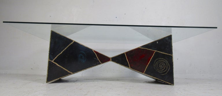Mid-20th Century Iconic Midcentury Paul Evans PE 61 Brutalist Coffee Table for Directional For Sale