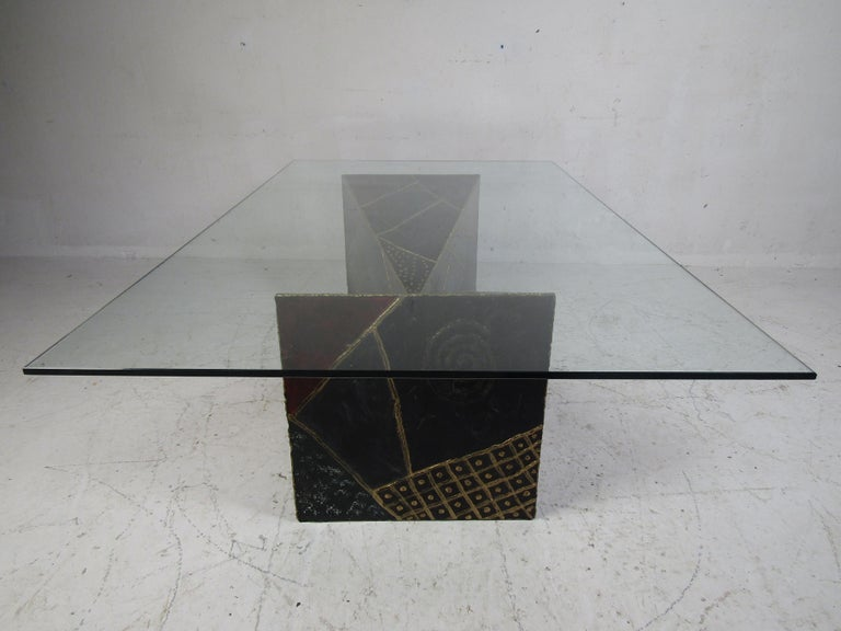 Metal Iconic Midcentury Paul Evans PE 61 Brutalist Coffee Table for Directional For Sale