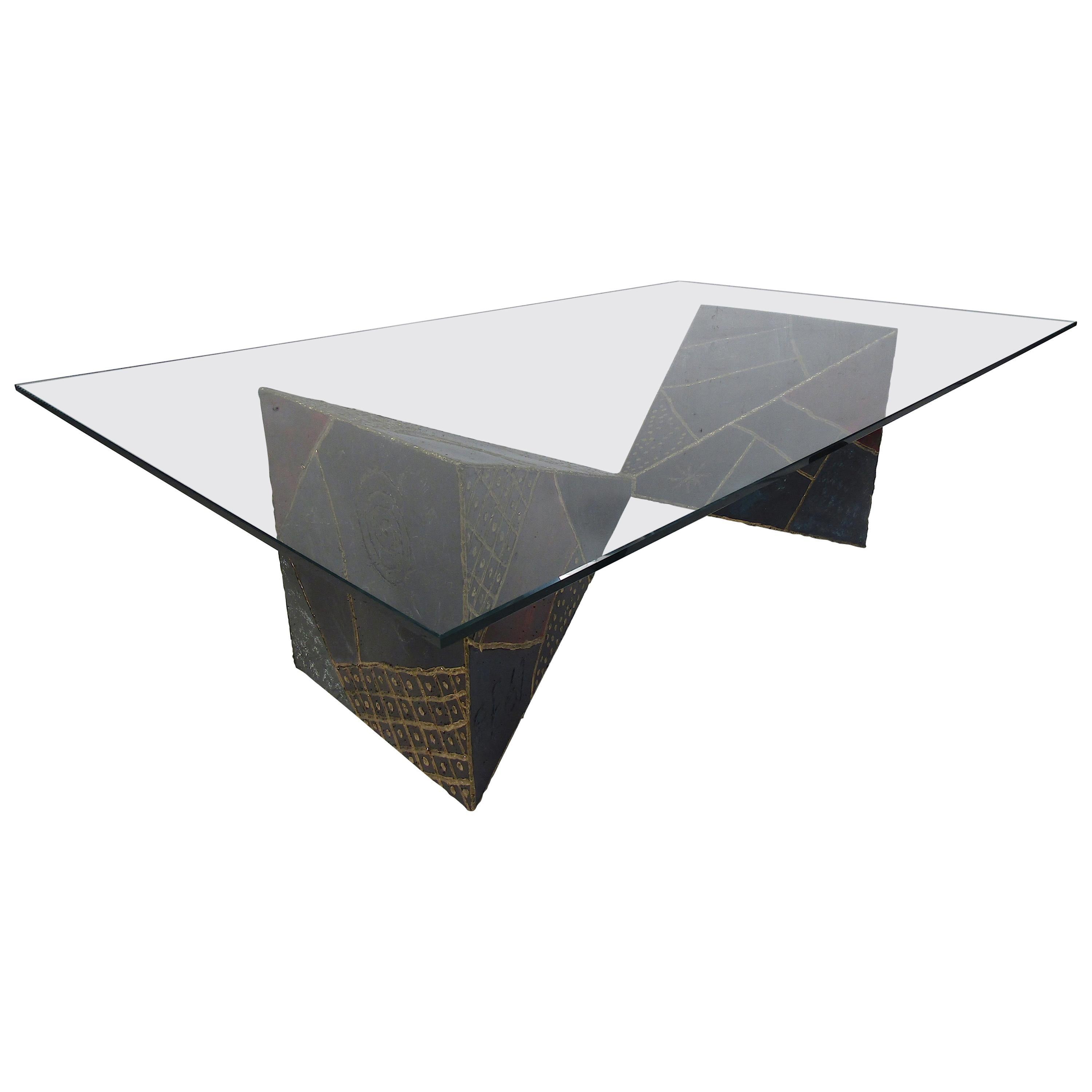 Iconic Midcentury Paul Evans PE 61 Brutalist Coffee Table for Directional