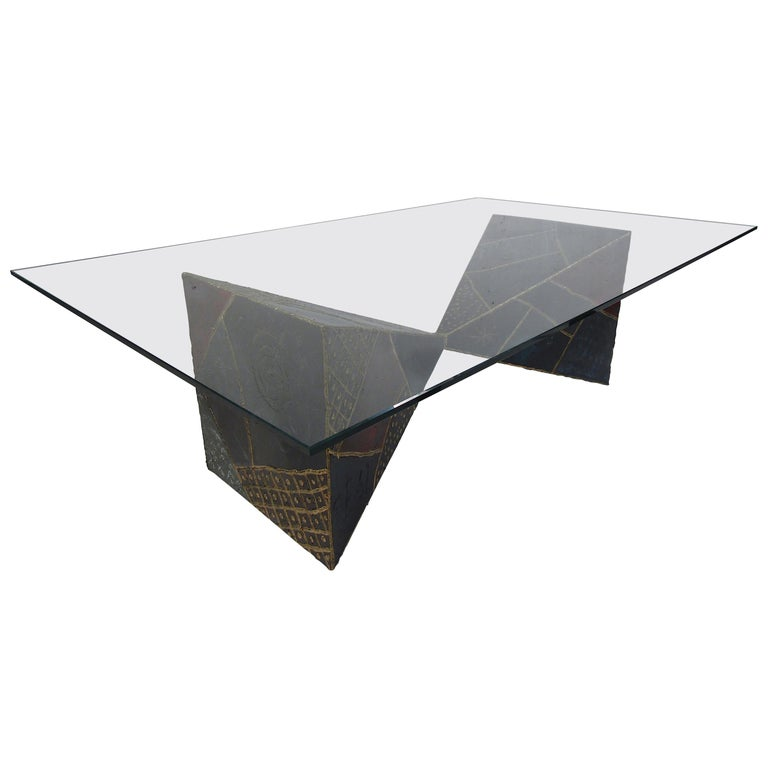 Iconic Midcentury Paul Evans PE 61 Brutalist Coffee Table for Directional For Sale