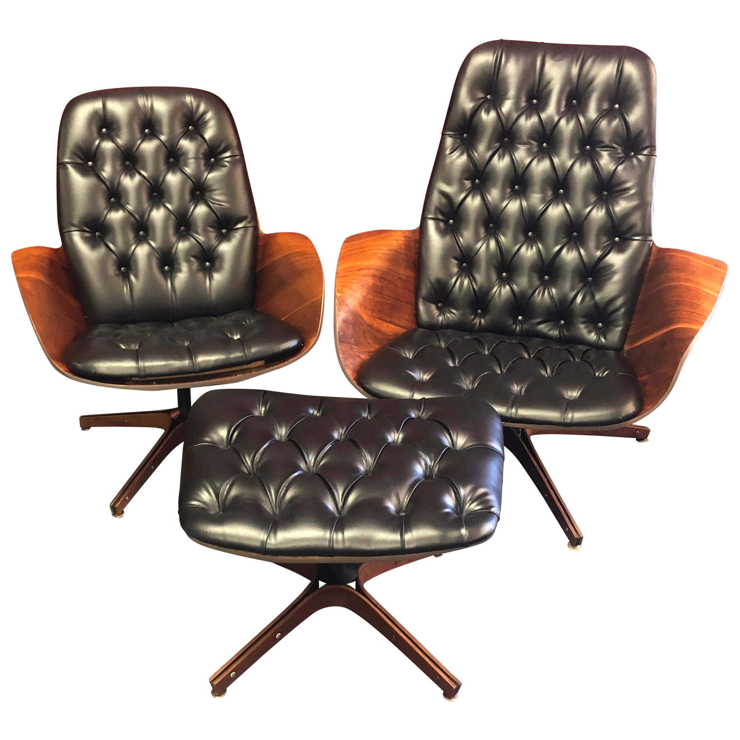 Iconic Mr. and Mrs. Chairs with Ottoman by George Mulhauser for Plycraft