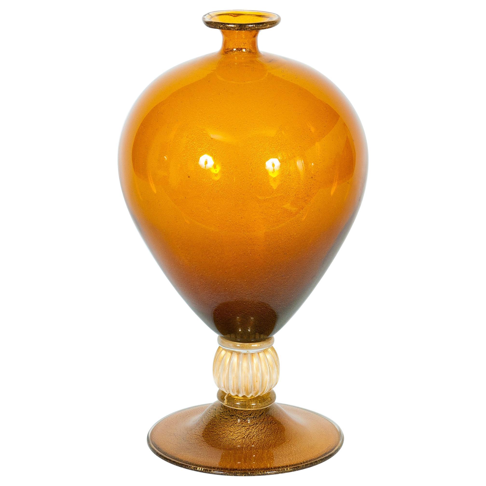 """Iconic Italian Murano Glass """"Veronese"""" Vase Amber with 24-karat Gold, 1980s"""