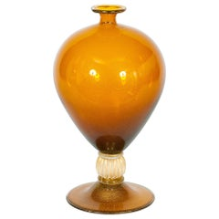"Iconic Italian Murano Glass ""Veronese"" Vase Amber with 24-karat Gold, 1980s"