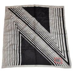 Iconic Norman Norell Black & White Signature Silk Scarf