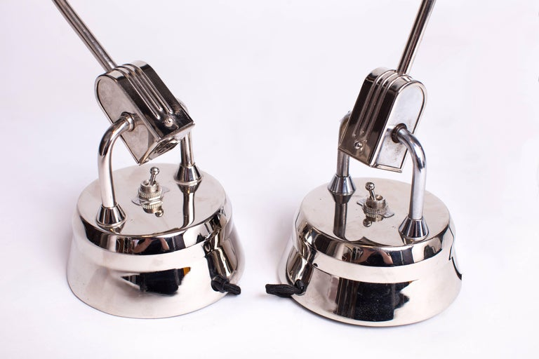 Mid-Century Modern Charlotte Perriand Selected Pair of Jumo 600 Chrome Table Lamps, France c. 1949 For Sale